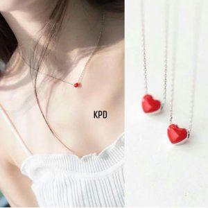 Dây bạc tim đỏ cho nàng thích sự đơn giản, trang sức tại ATuoi Shop
