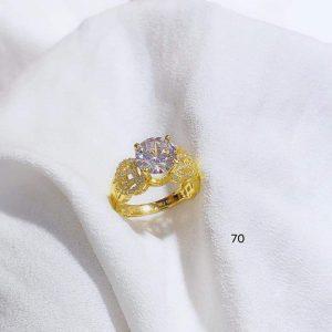 nhẫn kim tiền đính đá bản dày dặn