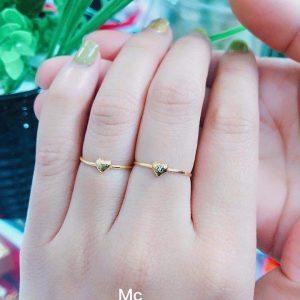 nhẫn tim vàng bản nhỏ