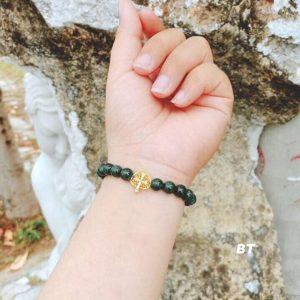 vòng tay đá ngọc mix lá bồ đề vàng
